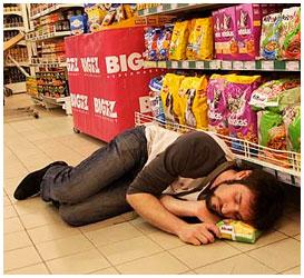 Заснул в магазине