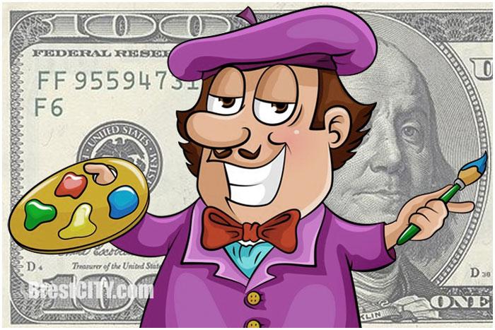 Художник нарисовал фальшивые доллары