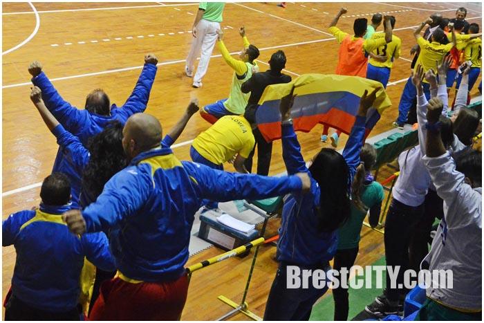 Момент встречи команд Колумбии и России в Бресте. Четвертьфинал