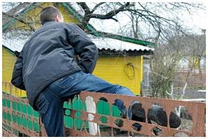 Вор лезет через забор. Кража на даче
