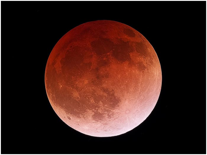 Кровавая Луна в небе 28 сентября 2015. Затмение