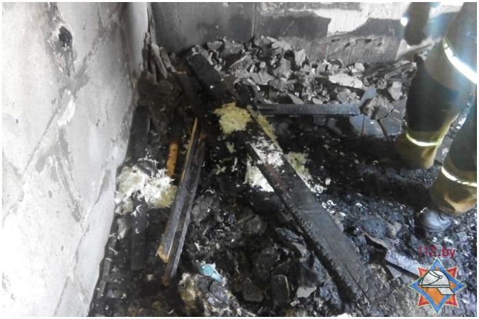 Пожар на улице Карбышева в Бресте 20 марта 2015