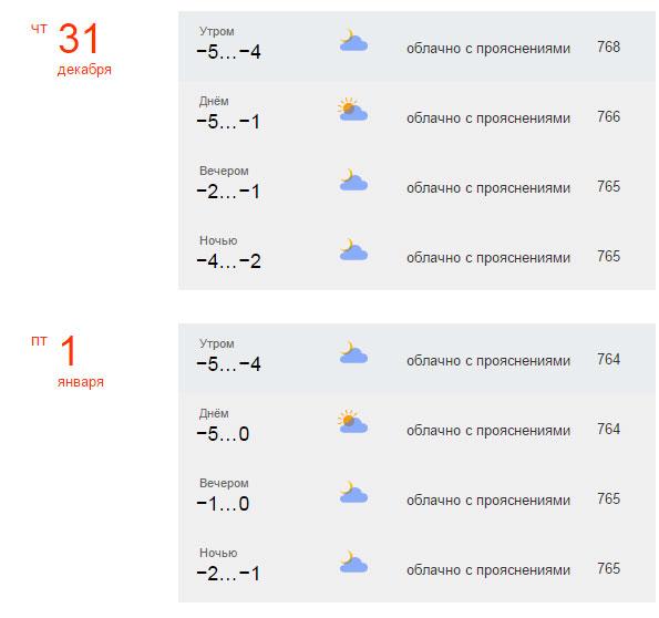 Прогноз погоды в новогоднюю ночь в Бресте