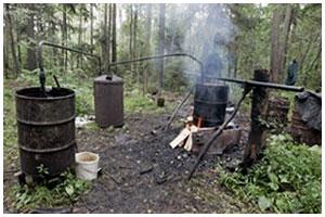 Мини спирт-завод в лесу