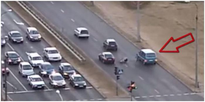 Конфликт велосипедиста и водителя в Бресте возле Гребного
