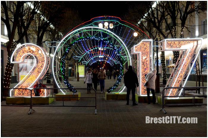 Новогодняя иллюминация в Бресте. Фото BrestCITY.com
