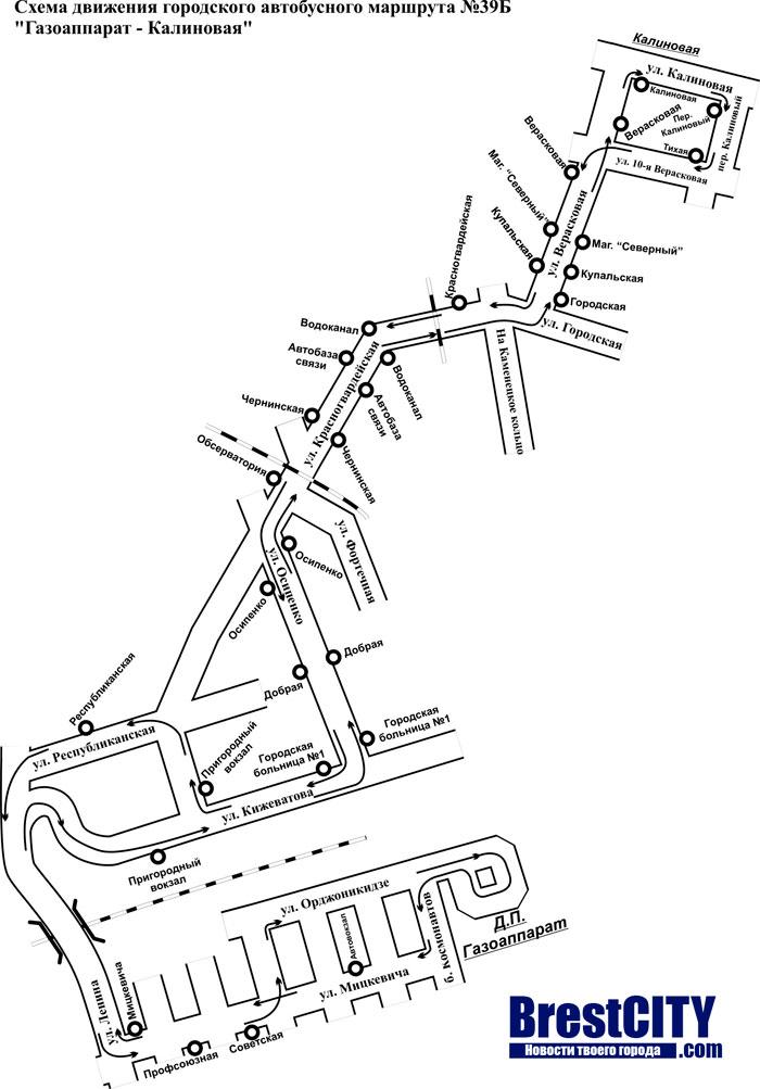 Схема маршрутка 39Б