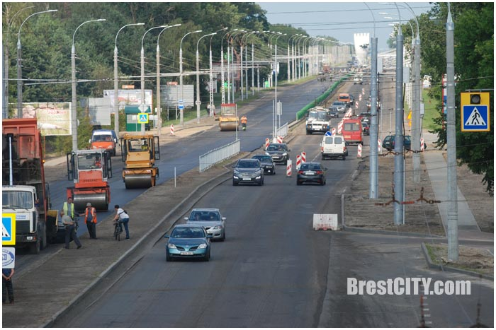 Дорожные работы на выезде из Бреста. Фото BrestCITY.com