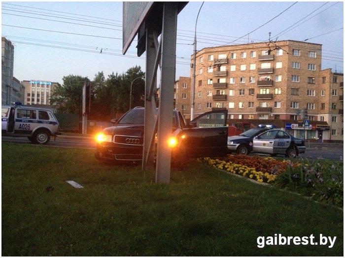 Авария АУДИ в Бресте 5 августа 2016