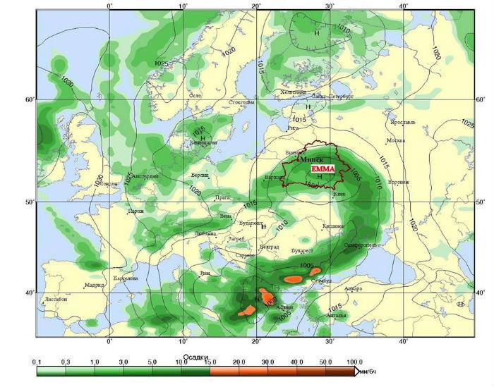 Циклон Эмма в Беларуси