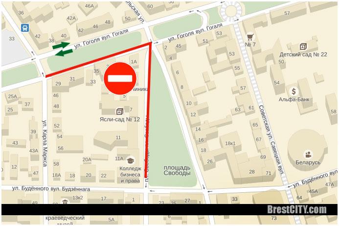 Ограничение движение транспорта по улице Гоголя в Бресте