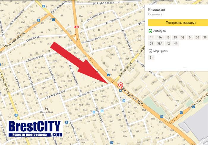 В Бресте временно будет закрыта остановка Киевская