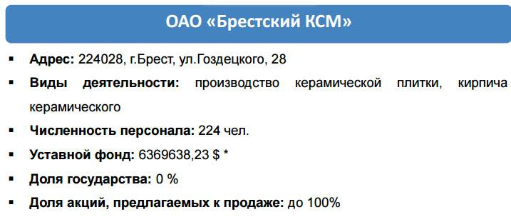 Брестский КСМ продают