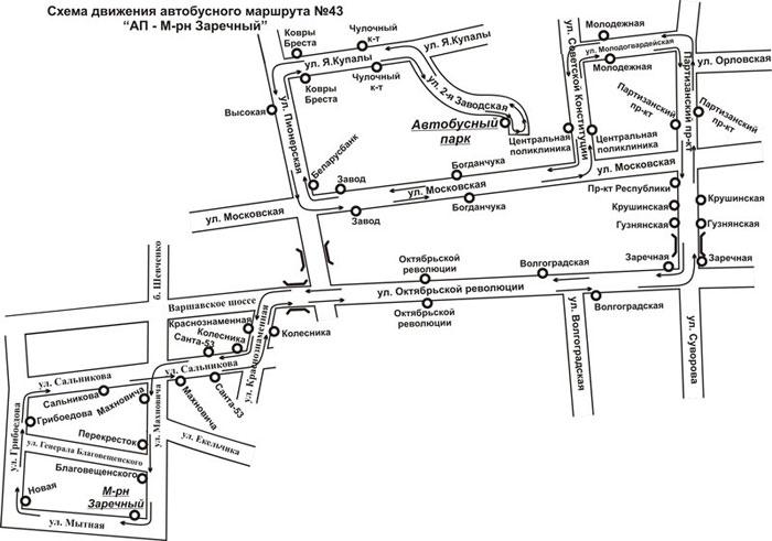 Схема движения нового автобусного маршрута №43 в Бресте