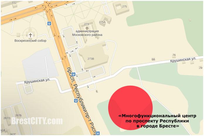 Многофункциональный центр на проспекте Республики в Бресте