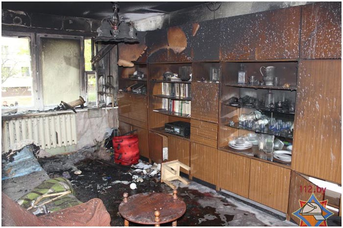 Пожар в квартире на МОПРа в Бресте