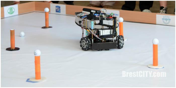 Соревнования по робототехнике в Бресте. Собирают мячики для гольфа