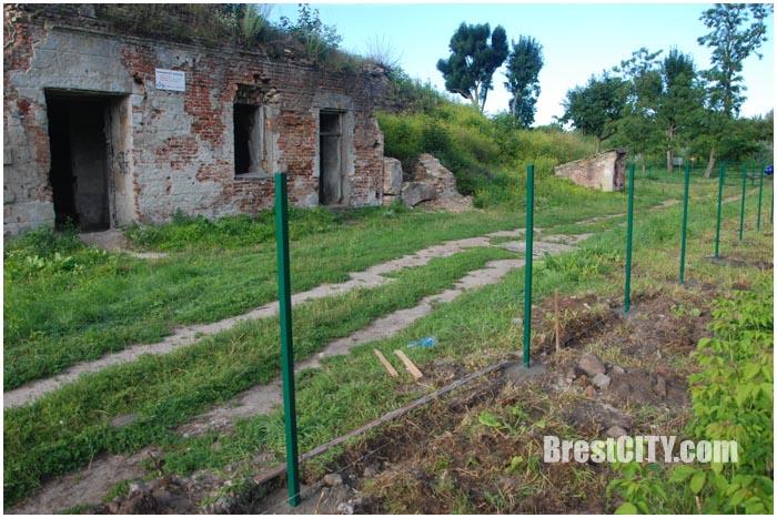 Руины бернардинского монастыря обнесли забором и убрали крест. Фото BrestCITY.com