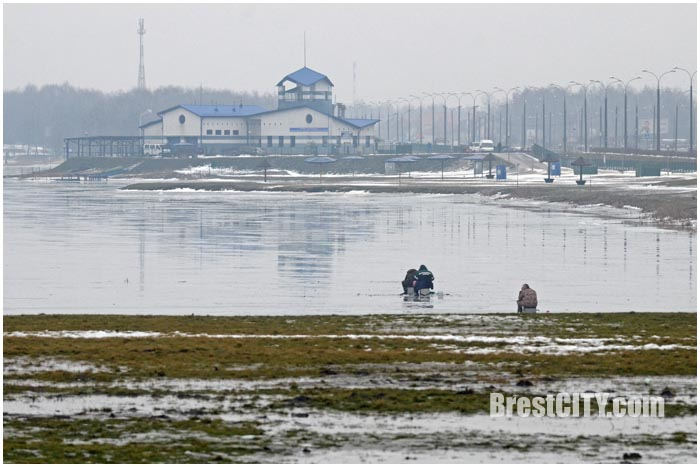 Рыбалка на Гребном в Бресте. Тонкий лед. Фото BrestCITY.com