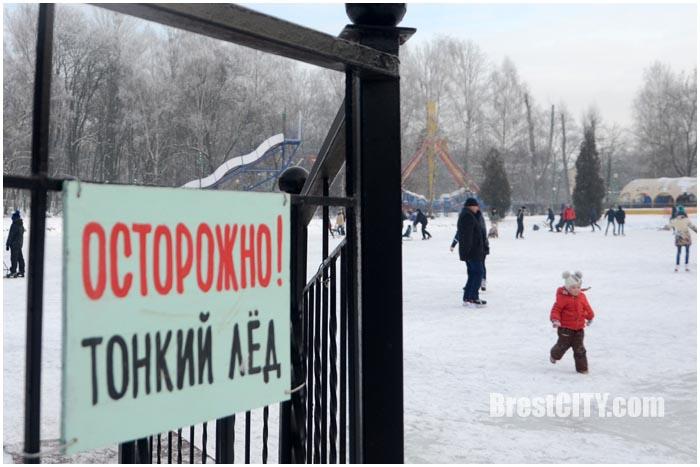 Зимний парк. Катание на коньках и финских санях. Фото BrestCITY.com