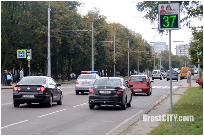 Датчик контроля скорости в Бресте на МОПРа. Фото BrestCITY.com