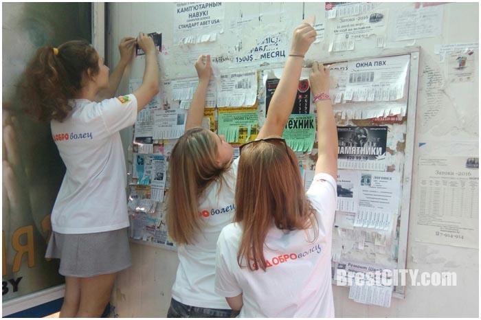 Волонтеры чистили остановки и столбы от объявлений