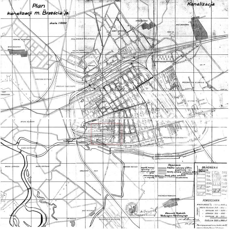 Польская (довоенная) карта канализации Бреста. На ней виден участок железной дороги, ведущий в тупик (обозначен красным квадратом) – «Объект 802»
