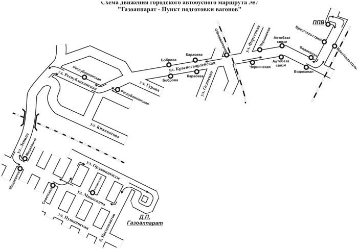 Маршрут движения - схема автобуса №7 в Бресте. Как ходит?