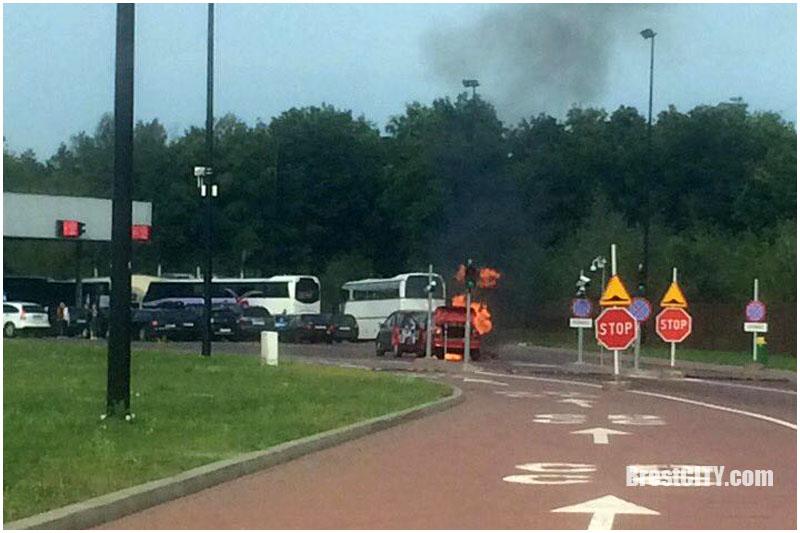 Загорелся автомобиль на границе с Польшей в Бресте