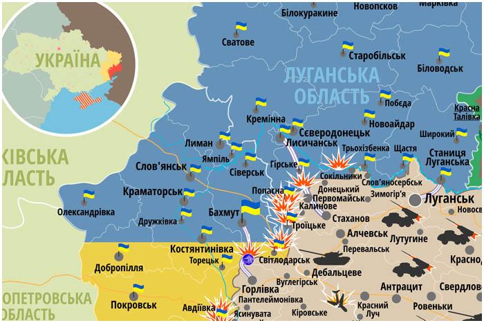 Карта боевых действий на территории Украины