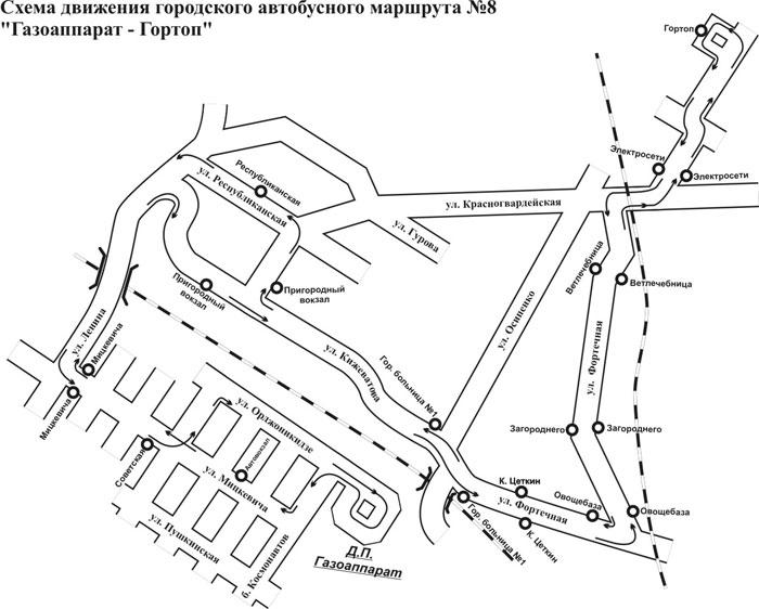 Маршрут и схема движения автобуса №8 в Бресте