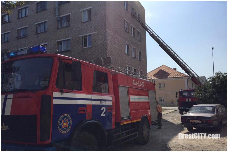 Пожар на улице Папанина в Бресте