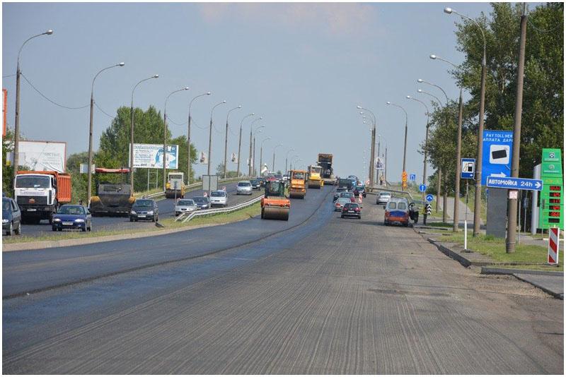 Асфальтирование моста на варшавке в Бресте. Пробки