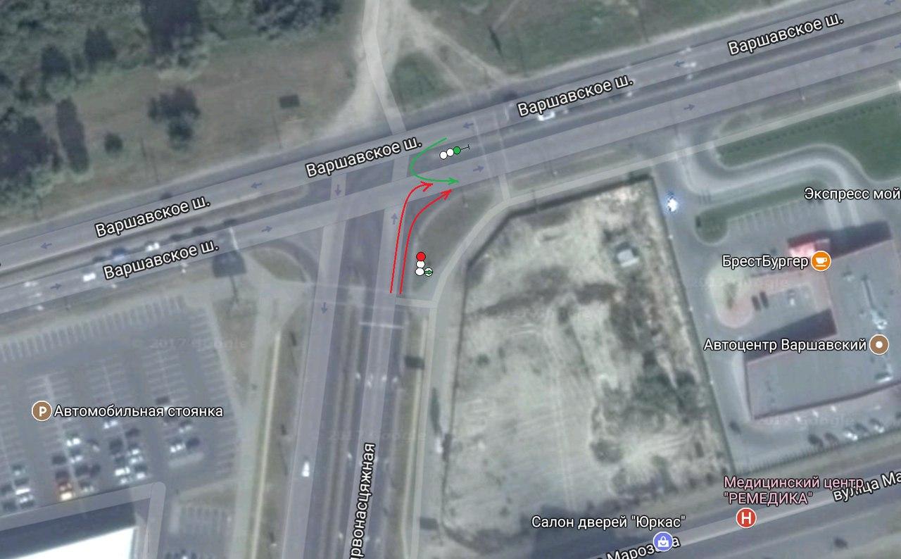 Перекресток Варшавское шоссе-Краснознаменная